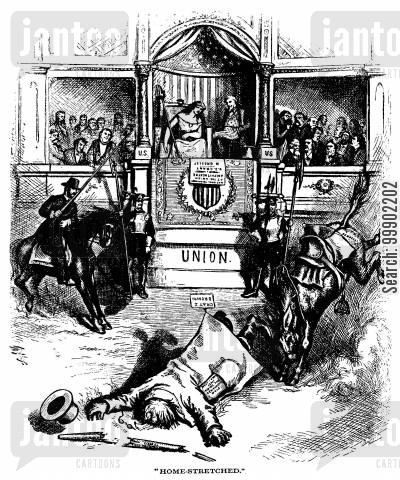 liberal republicans cartoon humor: Defeat for Greeley in 1872 Presidential Election- 'Dismounted from the Democratic Steed'