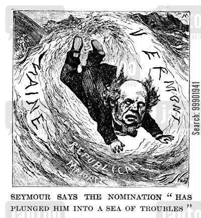 seymour cartoon humor: 1868 Presidential Election: Horatio Seymour in a 'sea of troubles'