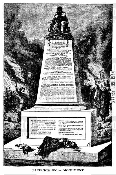 solid south cartoon humor: 1868 Presidential Election: Nast's vision of a Seymour Victory- 'Patience on a Monument'