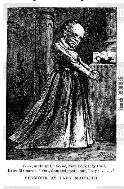 macbeth cartoon humor: 1868 Presidential Election: Horatio Seymour as Lady Macbeth