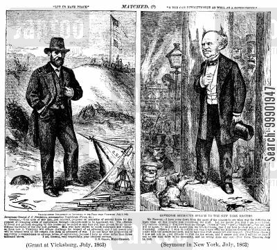 seymour cartoon humor: 1868 Presidential Election: Grant and Seymour's records Compared