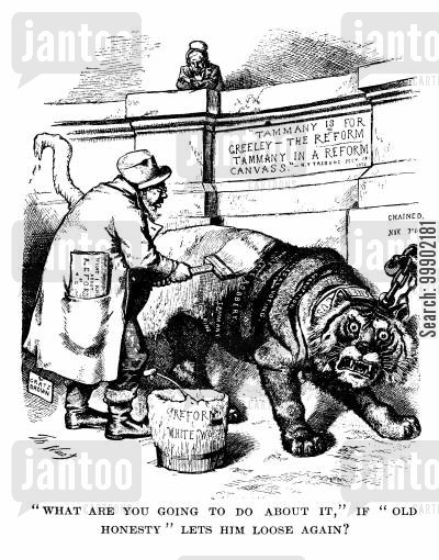 liberal republicans cartoon humor: Horace Greeley Whitewashing the Tammany Tiger