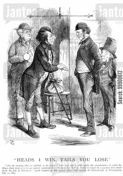 second reform act cartoon humor: Disraeli Introduces Parliamentary Reform Bill,1867