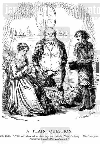 benjamin disraeli cartoon humor: Disraeli is Pressed for a Declaration of Policy