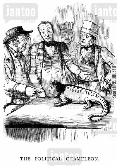 lord derby cartoon humor: Disraeli 'The Political Chameleon' Moves Towards Free-Trade