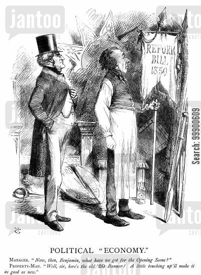 lord derby cartoon humor: Disraeli Adopts Parliamentary Reform Agenda