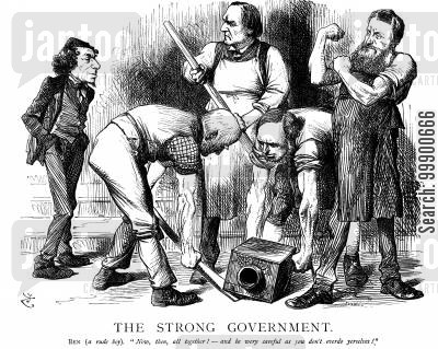 ballot act cartoon humor: Gladstone gets to Grips with the Ballott Bill