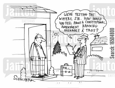 constitutional amendment cartoon humor: 'We're testing the waters, sir. How would you feel about a constitutional amendment banning menages a trois?'