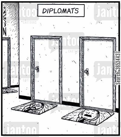 official cartoon humor: Diplomats in the form of doormats