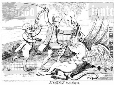 charles fox cartoon humor: 'St George and the Dragon' - Fox brings Scant Reward to Admiral George Rodney after Victory against French