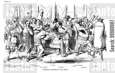 parliamentarianism cartoon humor: Derby-Disraeli Ministry of 1867 - Party Rivalry