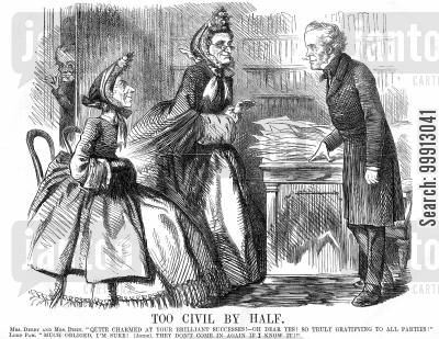 whig cartoon humor: Lord Palmerston being congratulated by Mrs. Derby and Mrs. Dizzy