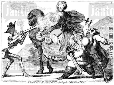 east india company cartoon humor: Warren Hastings Controversy - Fox, North and Burke Assailing 'The Savior of India'