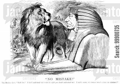 british lion cartoon humor: Public Opinion Shifts against Disraeli's Turkish Policy