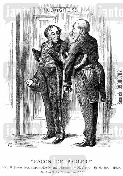 benjamin disraeli cartoon humor: Disraeli and Bismarck aim for Compromise at Berlin Congress