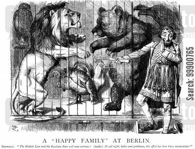 british lion cartoon humor: Anglo-Russian Rapprochement at Berlin