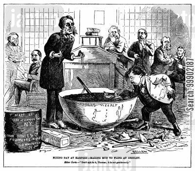 horace greeley cartoon humor: 'Mixing Day at Harper's - Making Mud to Fling at Greeley'