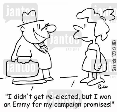 emmy cartoon humor: 'I didn't get re-elected, but I won an Emmy for my campaign promises!'
