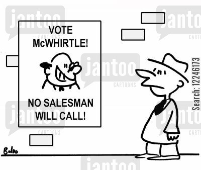lect cartoon humor: Vote McWhirtle. No salesman will call!