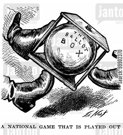 kick cartoon humor: 1876 Election: Ballot Box Kicked about in the 'National Game'