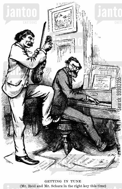 elections cartoon humor: 1876 Election: Senator Carl Shurz and Whitelaw Reid (NY Tribune Editor) Support Hayes' Presidential Bid