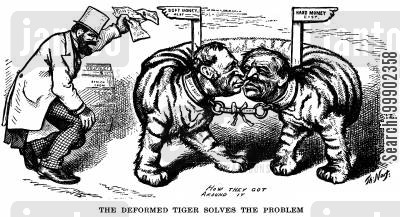 tiger cartoon humor: 1876 Election: Tilden-Hendricks Democratic Nomination Contradicts itself on Fiscal Policy