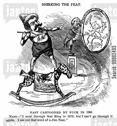 scandal cartoon humor: 1880 Presidential Election- Thomas Nast's Unwillingness to Mention Credit Mobilier Scandal and Gen. Garfield