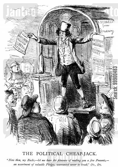 electioneering cartoon humor: Disraeli's 1847 Election Pledges