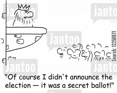 secret ballots cartoon humor: 'Of course I didn't announce the election -- it was a secret ballot!'