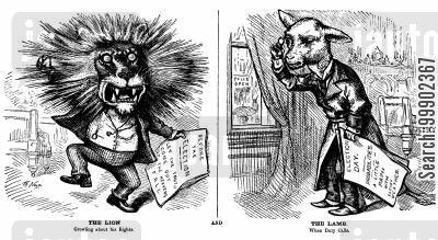 political apathy cartoon humor: Citizen as Lion turned Lamb- Satire on Election Day Apathy