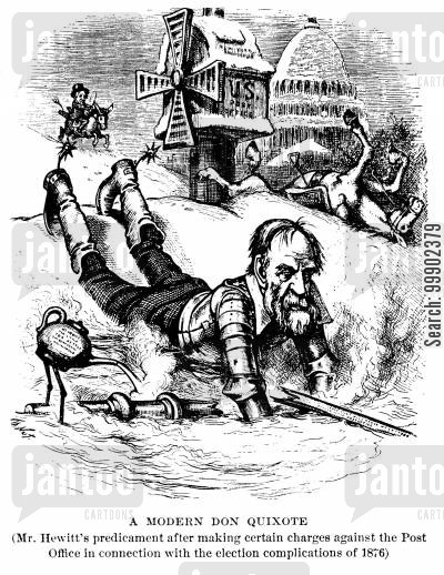 quixote cartoon humor: Abram Hewitt as Don Quixote Unhorsed after Electoral Disputes of 1876