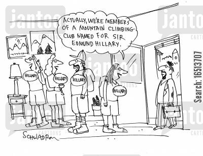 climbed cartoon humor: 'Actually, we're members of a mountain climbing club named for Sir Edmund Hillary.'