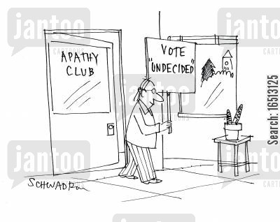 disinterested cartoon humor: Apathy club.