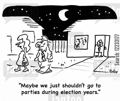 party goer cartoon humor: 'Maybe we just shouldn't go to parties duriing election years.'