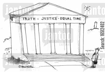 truth justice equality cartoon humor: Truth, Justice, Equal Time.