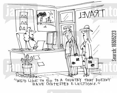 escapism cartoon humor: 'We'd like to go to a country that doesn't have contested elections.'