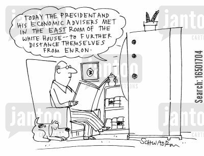 enron cartoon humor: The President and his advisors met in the east room of the White House to further distance themselves from Enron.