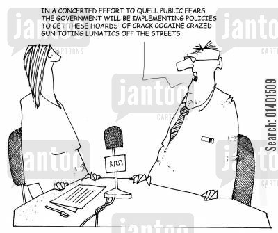 government policy cartoon humor: Government announcing plans to reduce public fears.