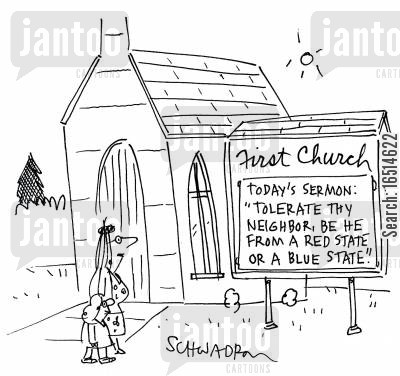 blue state cartoon humor: Church sign.