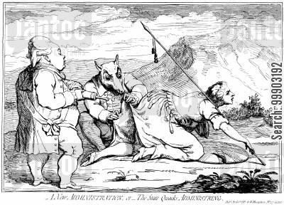 charles james fox cartoon humor: Fox-North Coalition: 'The State Quacks' (Fox and North) Administer an Enema to Brittania