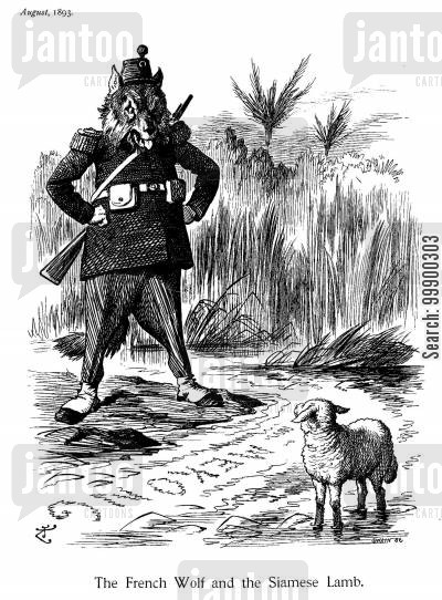siamese cartoon humor: French Aggresson Towards Siam