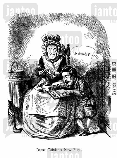 pupil cartoon humor: The Anglo-French Trade Treaty,1860