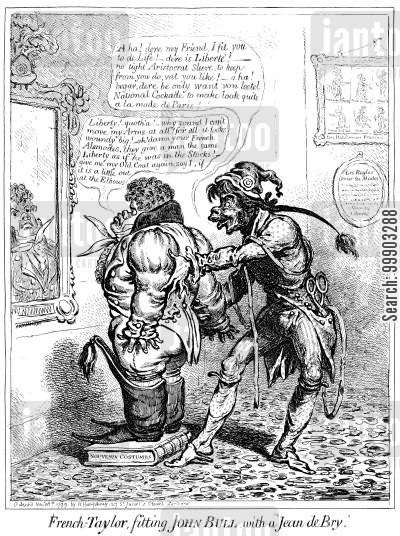 frenchmen cartoon humor: French Fashions are Ill-Fitting for John Bull