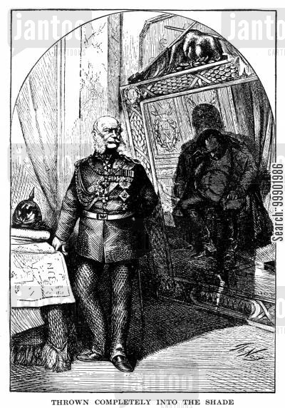 french second empire cartoon humor: Kaiser Wilhelm I throws Napoleon I in the Shade