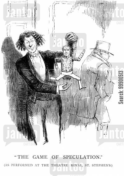 game of speculation cartoon humor: Disraeli Becomes Chancellor of the Exchequer and Leader of the Commons