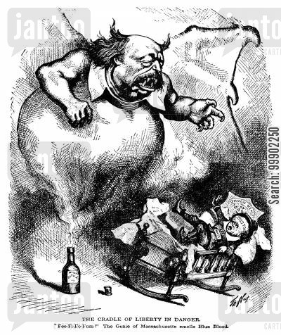 general butler cartoon humor: Benjamin Butler as the Genie threatening the 'Cradle of Liberty' with his 1874 Inflation Bill
