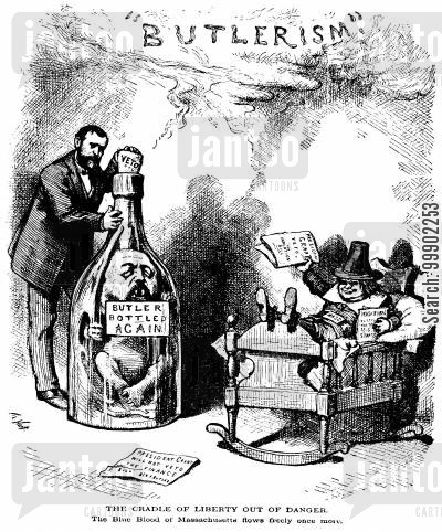 benjamin butler cartoon humor: President Grant Vetos the Inflation Bill, Bottling the Genie of Butler