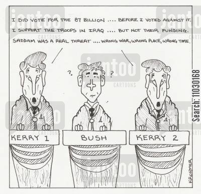 john kerry cartoon humor: Two John Kerrys are debating Bush, each taking an opposing view point.