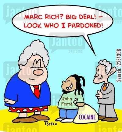 cocaine cartoon humor: John Forte - Cocaine: 'Marc Rich? Big deal! -- Look who I just pardoned!'