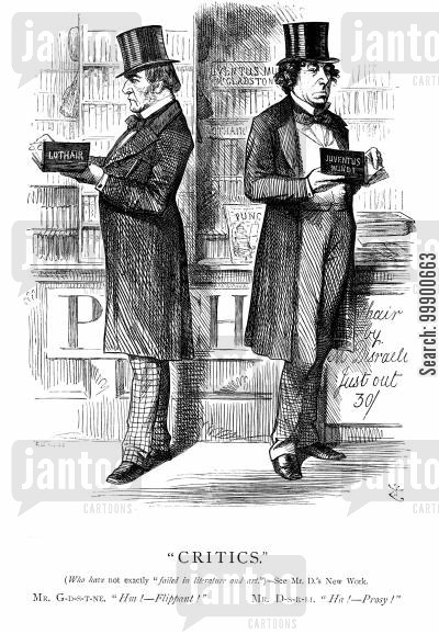 lothair cartoon humor: Literary Rivalry Between Gladstone and Disraeli